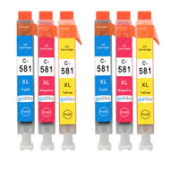 2 Go Inks C/M/Y Set of 3 Ink Cartridges to replace Canon CLI-581 Compatible / non-OEM for PIXMA Printers (6 Pack)