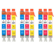 3 Go Inks C/M/Y Set of 3 Ink Cartridges to replce Canon CLI-581 Compatible / non-OEM for PIXMA Printers (9 Pack)