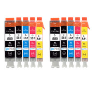 2 Go Inks Set of 5 Ink Cartridges to replace Canon PGI-580  & CLI-581 Compatible / non-OEM for PIXMA Printers (10 Pack)