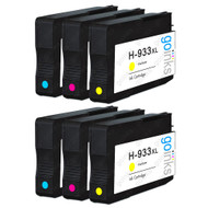 2 Go Inks Compatible C/M/Y Sets to replace HP 933 Colour Printer Ink Cartridges (6 Inks) - Cyan, Magenta, Yellow Compatible / non-OEM for HP Officejet Printers