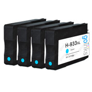 4 Go Inks Cyan Compatible Printer Ink Cartridges to replace HP 933C (XL Capacity) Compatible / non-OEM for HP Officejet Printers