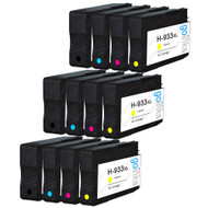 3 Go Inks Compatible Set of 4 to replace HP 932 Printer Ink Cartridge (12 Inks) - Black, Cyan,  Magenta, Yellow Compatible / non-OEM for HP Officejet Printers