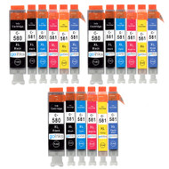 3 Go Inks Set of 6 Ink Cartridges to replace Canon PGI-580  & CLI-581 Compatible / non-OEM for PIXMA Printers (18 Pack)