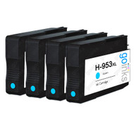 4 Go Inks Cyan Compatible Printer Ink Cartridges to replace HP 953C (XL Capacity) Compatible / non-OEM for HP Photosmart Printers