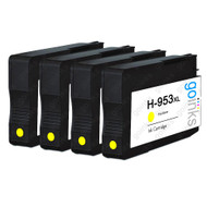 4 Go Inks Yellow Compatible Printer Ink Cartridges to replace HP 953Y (XL Capacity) Compatible / non-OEM for HP Photosmart Printers