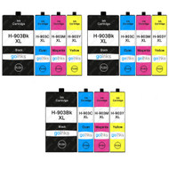 3 Go Inks Set of 4 Printer Ink Cartridges to replace HP 903 (XL Capacity) Compatible / non-OEM for HP Officejet Printers (12 Inks)