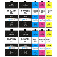 2 Go Inks Set of 4 + Extra Black Ink Cartridges to replace HP 903 + Bk (XL Capacity) Compatible / non-OEM for HP Officejet Printers (10 Inks)