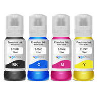 1 Go Inks Set of 4 Ink Bottles 70ml to replace Epson 104 Compatible/non-OEM  for EcoTank Printers