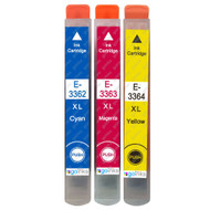 1 Go Inks Set of 3 Ink Cartridges to replace Epson T3357 (33XL Series) C/M/Y Compatible / non-OEM for Epson Expression Home Printers (3 Inks)