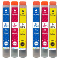 2 Go Inks Set of 3 Ink Cartridges to replace Epson T3357 (33XL Series) C/M/Y Compatible / non-OEM for Epson Expression Home Printers (6 Inks)