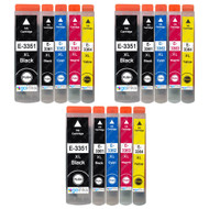3 Go Inks Set of 5 Ink Cartridges to replace Epson T3357 (33XL Series) Compatible / non-OEM for Epson Expression Premium Printers (15 Inks)