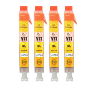 4 Go Inks Yellow Ink Cartridges to replace Canon CLI-571Y Compatible / non-OEM for PIXMA Printers