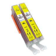 2 Go Inks Yellow Ink Cartridges to replace Canon CLI-551Y Compatible / non-OEM for PIXMA Printers