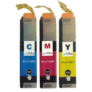 1 Go Inks Set of 3 C/M/Y Ink Cartridges to replace Brother LC125XL Compatible / non-OEM for Brother DCP & MFC Printers (3 Inks)