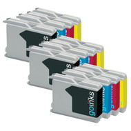 3 Go Inks Set of 4 Ink Cartridges to replace Brother LC970 & LC1000 Compatible / non-OEM for Brother DCP, MFC, FAX Printers (12 Inks)