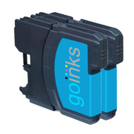 2 Go Inks Cyan Ink Cartridges to replace Brother LC980C & LC1100C Compatible / non-OEM for Brother DCP & MFC Printers