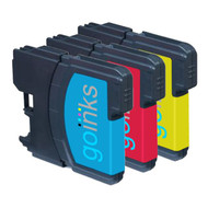 1 Go Inks Set of 3 C/M/Y Ink Cartridges to replace Brother LC980 & LC1100 Compatible / non-OEM for Brother DCP & MFC Printers (3 Inks)
