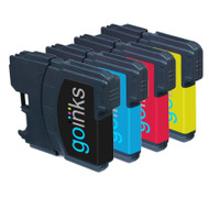 1 Go Inks Set of 4 Cartridges to replace Brother LC980 & LC1100 Compatible / non-OEM for Brother DCP & MFC Printers (4 Inks)