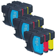 3 Go Inks Set of 3 C/M/Y Ink Cartridges to replace Brother LC980 & LC1100 Compatible / non-OEM for Brother DCP & MFC Printers (9 Inks)