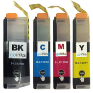 1 Go Inks Set of 4 Ink Cartridges to replace Brother - LC127XL & LC125XL Compatible / non-OEM for Brother DCP & MFC Printers (4 Inks)