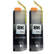 2 Go Inks Black Ink Cartridges to replace Brother LC223BK Compatible / non-OEM for Brother DCP & MFC Printers