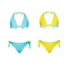 Girls Classic Reversible Two Piece Bikini Swimwear Set
