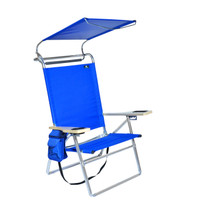 Deluxe 4 position Aluminum Beach Chair with Canopy Shade & Storage Pouch