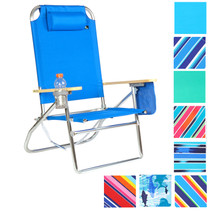 Extra Large - High Seat 3 pos Heavy Duty Beach Chair w/ Drink Holder