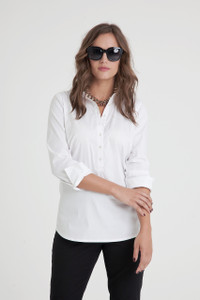 Paley Stretch Cotton Poplin Popover Blouse