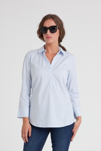 Paley Stretch Cotton Poplin Popover Blouse in Sky Blue