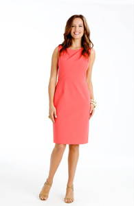 Sabrina Stretch Ponte Dress in Capri Coral