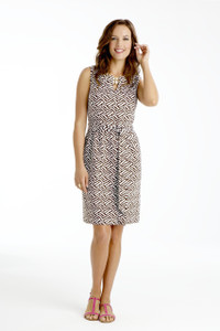 Sydney Sleeveless Printed Ponte Dress in Dark Walnut Brown/White Print