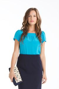 Elodie Silk Crepe de Chine Short Sleeve Tunic in Aegean Blue