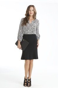 Bianca Lightweight Ponte Flip Skirt in Black