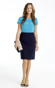 Natalie Stretch Ponte Pencil Skirt in Navy Blue