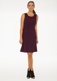 Carmen Sleeveless Lightweight Ponte Flip Dress in Plum