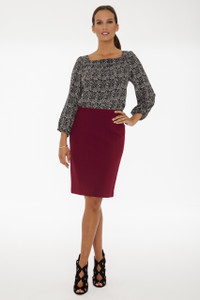 Natalie Stretch Ponte Pencil Skirt in Crimson