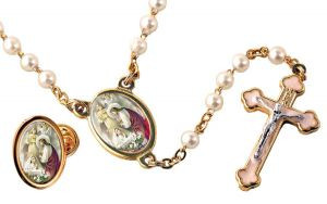 First Communion Rosary with Companion Lapel Pin (Girl)