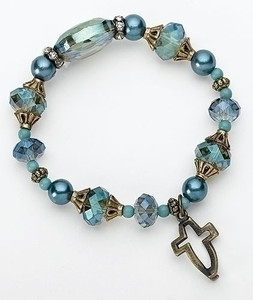 Dimensions of Christ Blue Cross/Fish Bracelet