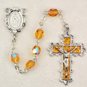 6mm Topaz Deluxe Rosary with Enamel Crucifix