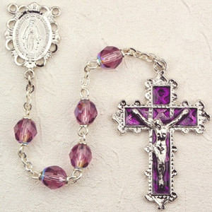 6mm Dark Amethyst Deluxe Rosary with Enamel Crucifix