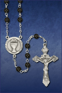 5mm Black Rosary with Pewter Chalice and Crucifix