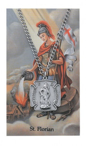 Saint Florian Prayer Card and Large Medal Set
