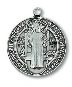 Antique Pewter Saint Benedict Medal- Large Size