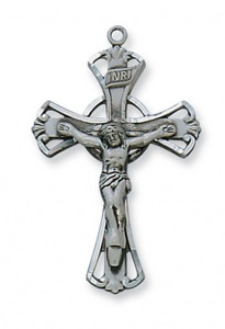 "Antique Pewter Crucifix w/ 18"" Chain"