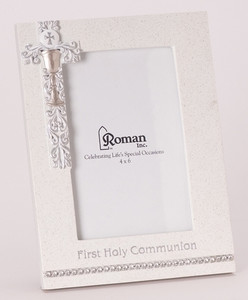 First Communion Frame Silver Scroll/Chalice Design