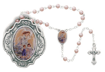 Guardian Angel Box with Pink Rosary