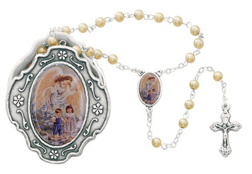 Guardian Angel Box with Pearl Rosary