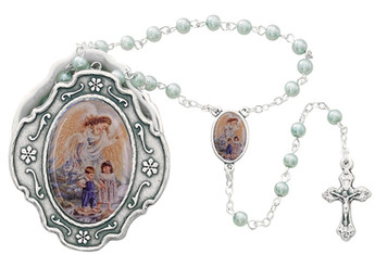 Guardian Angel Box with Blue Rosary