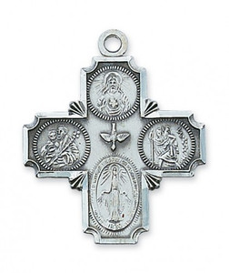Large Sterling Silver Traditional 4-Way Medal